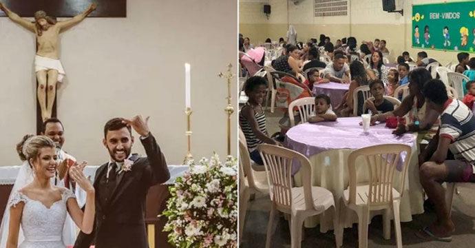 അനാഥർക്ക് സദ്യ വിളമ്പി വിവാഹം ആഘോഷിച്ച ക്രൈസ്തവ ദമ്പതികൾ